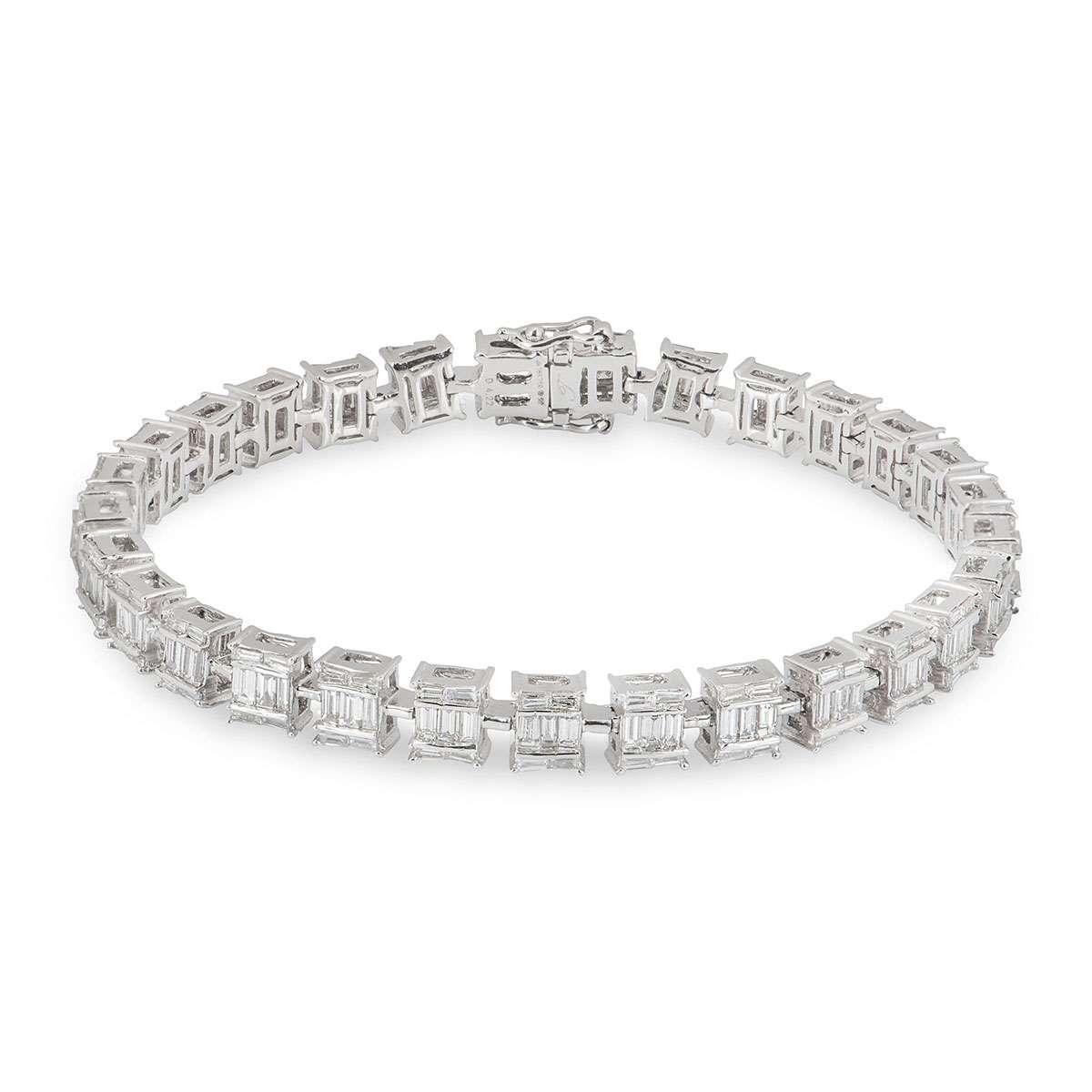 White Gold Diamond Bracelet 4.22ct